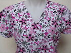 XS S M L XL 2XL WHITE GRAY BLACK PINK BREAST CANCER BUTTERFLY FLOWER SCRUB TOP