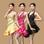 D947 Performance Dress Latin Skirt Rumba Samba Belly Dance with sequins M/L