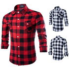 100% Cotton Classic Plaids Checks Men's Long Sleeve Casual Dress T Shirts Tops