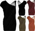 New Womens Celeb Off Shoulder Strappy Ruched Stretch Lining Side Slit Ladies Top
