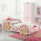 Girls PINK 3D Wheel PRINCESS CARRIGE Single CAR BED Bedside TABLE Kids FURNITURE