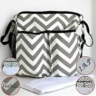 Nappy Diaper Bag Large Chevron black straps. PERSONALISED Bag and Change Mat