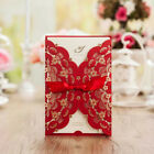 Free Personalized Red Wedding Invitation Cards Unique Laser Cut Design, Envelope