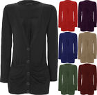New Plus Size Womens Ruched Pocket Button Cardigan Ladies Long Sleeve Top 16- 20