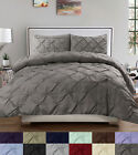 Duvet Cover  Pillow Sham Set Luxury 3 Piece Pinch Pleat Pintuck Polyester