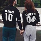 Couple  King And Queen Long Sleeve Blouse Casual Tank Top T-Shirts Coat Outwear