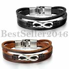 Charm Love Infinity Multilayer Hand Woven Leather Womens Mens Cuff Bracelet Gift