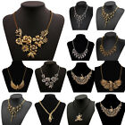 Women's Vintage Antique Gold Silver Plated Jewelry Flower Skull Pendant Necklace