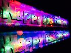 New Personalised Flashing  Happy 60th Birthday banner Party decorations