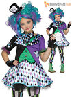 Girls Mad Hatter Costume Childs Tea Party Fancy Dress Alice Fairytale Outfit