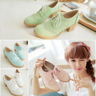Women's Fashion PU Leather High-heeled Wedges  Oxford Flats Casual Brogue Shoes