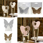 Wedding Glass Place Cards Butterflies or Hearts, Laser Cut Table Decoration