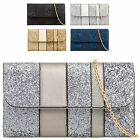 Ladies Faux Leather Glittery Envelope Style Clutch Evening Bridal Handbag KT601