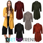 Womens Waterfall Belted Trench Coat Ladies Crepe 3/4 Sleeve Blazer Duster Coat