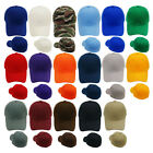 Plain Fitted Baseball Cap Curved Visor Solid Blank Color Caps Hat New - 9 Sizes