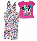 Disney Minnie Mouse Baby Girl T Shirt & Comic Print Overalls Outfit - Pink Blue