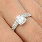 Sterling Silver Princess Cut Solitaire Clear CZ Wedding 2in1 Set Ring Size 3-11