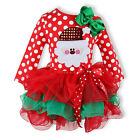 Baby Girl's Bowknot Red Long Sleeve Santa Lace Tutu Dress Outfit Skirt 2016 New