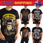 Men T-shirt Motorcycle Biker Rockabilly Hot Rod Ride Vintage Top Short Sleeve L