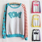 4 Colors Pow Flocking Letters Fleece Good Quality Autumn-winter Pullover Sweater