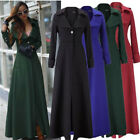 Women Full-Length Anti-wind Wool Blend Jacket Slim Cool Long Trench Coat Parka