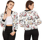 Womens Floral Long Sleeve Bomber Jacket Ladies Zip Flower Print Round Neck