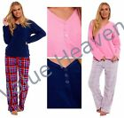 Ladies Micro Fleece Pyjamas Low V Neck Buttoned Check Pants Navy Blue Pink