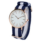 Fashion Women Men Stripe Nylon Band 5 Types Adjustable Sport Quartz Wrist Watch