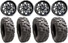 "MSA Black Vibe 14"" UTV Wheels 27"" Roctane Kev Tires Honda Pionner 1000"