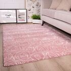 Blush Pink Floral Roses Flower Design Pattern Living Room 100% Wool Woollen Rug