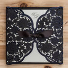 Black Hollow Lace Personlized Laser Cut Wedding Invtation With Envelope Seal