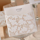 White Laser Cut Invitation Cards For Wedding,Engagement, Envelopes, Personalized