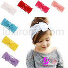 Girls Big Bow Lace Hair Band Baby Head Wrap Hairband Style UK Stock 7 Colours