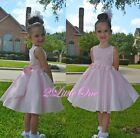 Diamante Embroideries Flower Girl Dress Wedding Pageant Occasion Pink 2T-10 #282