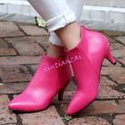 Womens Leather Kitten Stiletto Heels Ankle Boot Pointy Toe Riding Shoes Party