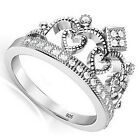 Queen Royalty Princess Crown Women's Ring 925 Sterling Silver Fashion Ring Size