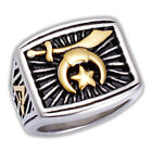 Masonic rings ebay Freemason Shriners Ring. Gold Steel Rays of Light Grand Elect