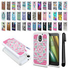 For Motorola Moto E3 3rd Gen 2016 Anti Shock Bling HYBRID Case Phone Cover + Pen