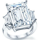 925 Sterling Silver 3 Stone Emerald Cut Shiny Clear CZ Wedding Ring Size 3-11