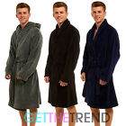 Mens Supersoft Fleece Night Gown Mens Striped Hooded Night Robe Supersoft Warm