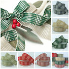 Christmas Rustic plaid ribbon 25mm & 40mm wide sold per metre Berisfords