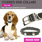 Circle Studded Small Puppy Cat 100% Real Leather Collar Handmade In England