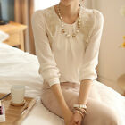 Women Fashion Casual Lace Shirts Chiffon Blouses Long Sleeve T Shirt Tops