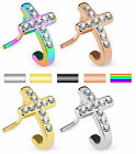 1pc Crystal Paved Cross L-Bend 20g Nose Ring Stud Screw 316L Surgical Steel