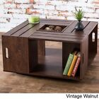 Brown Coffee Table Shelf Storage Modern Home Contemporary Furniture  Cocktail