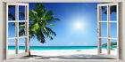 3D Window Effect on Canvas Tropical Beach Tree Sea Holiday Picture Wall Print