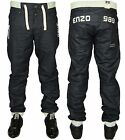 NEW MENS ENZO CUFFED DESIGNER JOGGER STYLE JEANS NAVY CASUAL PANTS SIZES 28 - 48