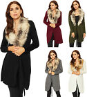 Womens Faux Fur Open Cardigan Top Ladies Long Sleeve Knitted Belted Stretch