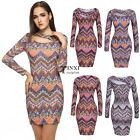 Sexy  Hollow Long Sleeve Print Bodycon Pencil Dress TXSU