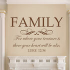 Bible Wall Sticker Family For Where Your Treasure Removable Saying Vinyl Decor